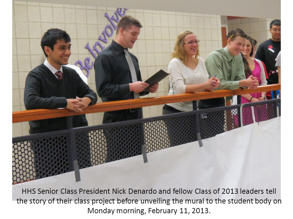 HHS Senior Class President Nick Denardo and fellow Class of 2013 leaders tell the story of their class project before unveiling the mural to the student body on Monday morning, February 11, 2013.