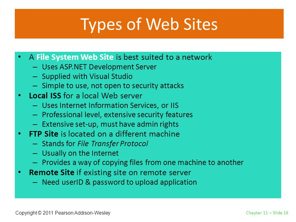Copyright © 2011 Pearson Addison-Wesley Types of Web Sites Chapter 11 – Slide 16 A File System Web Site is best suited to a network – Uses ASP.NET Development Server – Supplied with Visual Studio – Simple to use, not open to security attacks Local ISS for a local Web server – Uses Internet Information Services, or IIS – Professional level, extensive security features – Extensive set-up, must have admin rights FTP Site is located on a different machine – Stands for File Transfer Protocol – Usually on the Internet – Provides a way of copying files from one machine to another Remote Site if existing site on remote server – Need userID & password to upload application
