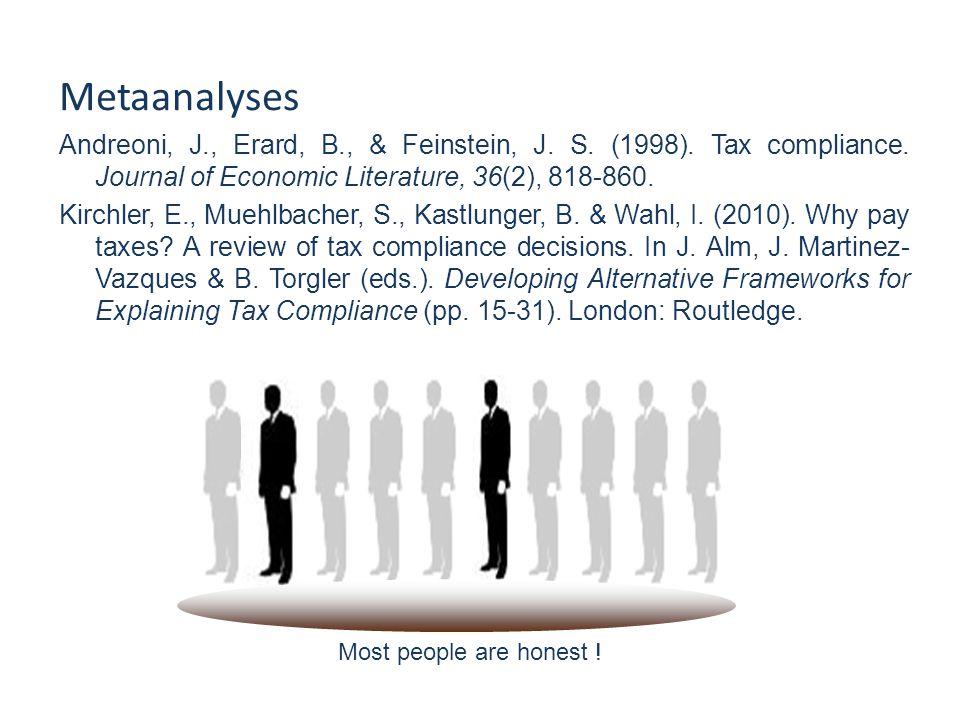 Metaanalyses Andreoni, J., Erard, B., & Feinstein, J.