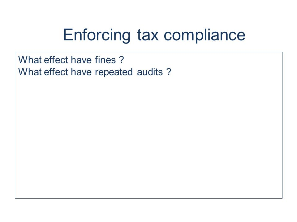 What effect have fines ? What effect have repeated audits ?