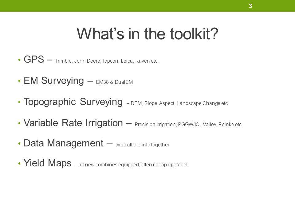 What's in the toolkit. GPS – Trimble, John Deere, Topcon, Leica, Raven etc.