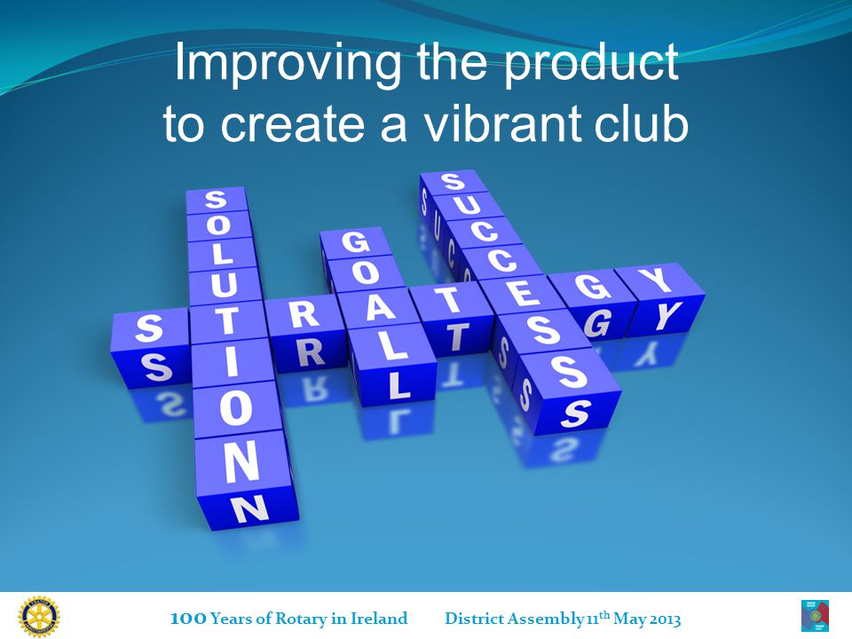 100 Years of Rotary in Ireland District Assembly 11 th May 2013 Improving the product to create a vibrant club