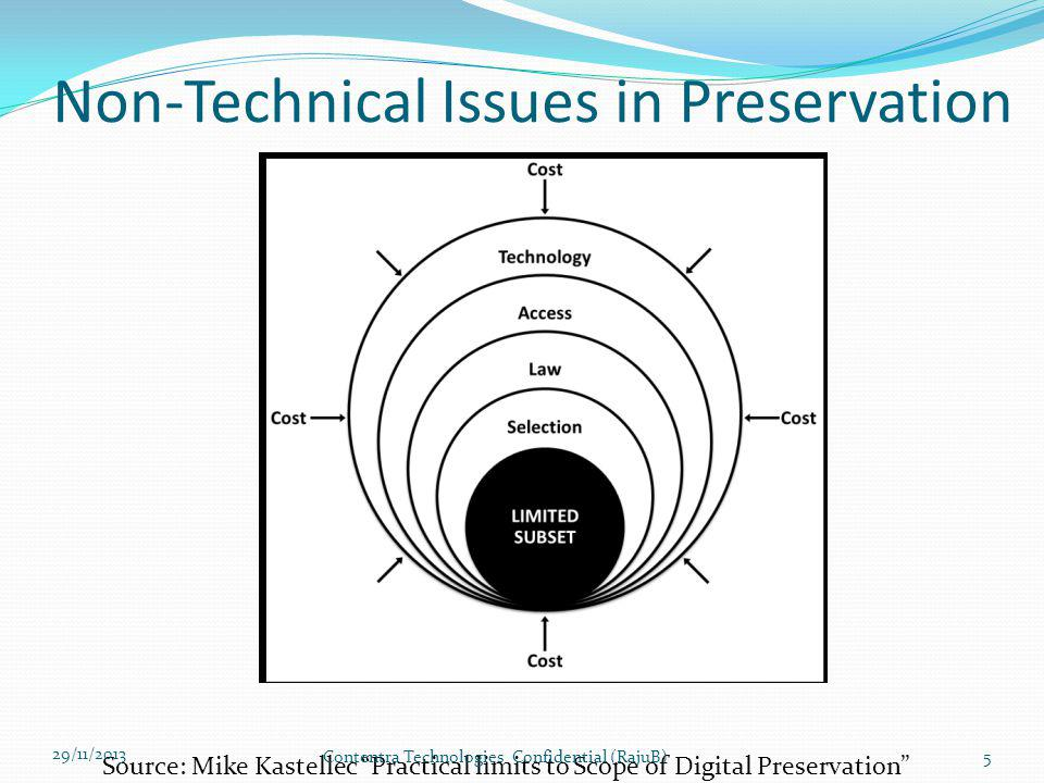 Levels of Digital Preservation 3 (NDSA) 29/11/2013 Contentra Technologies Confidential (RajuB)26 Level 1 (Protect your data) Level 2 (Know your data) Level 3 (Mirror your data) Level 4 (Repair your data) Information Security Identify who has read, move and delete authorization to individual files Restrict who has authorization to individual files Document access restrictions for content Maintain logs of all actions on the files inclusive of preservation actions Perform Audit of all logs MetadataInventory of content and its storage location Document all non-colocation of inventory Store Administrative metadata Store transformative metadata and log Store technical and descriptive metadata Store preservation metadata