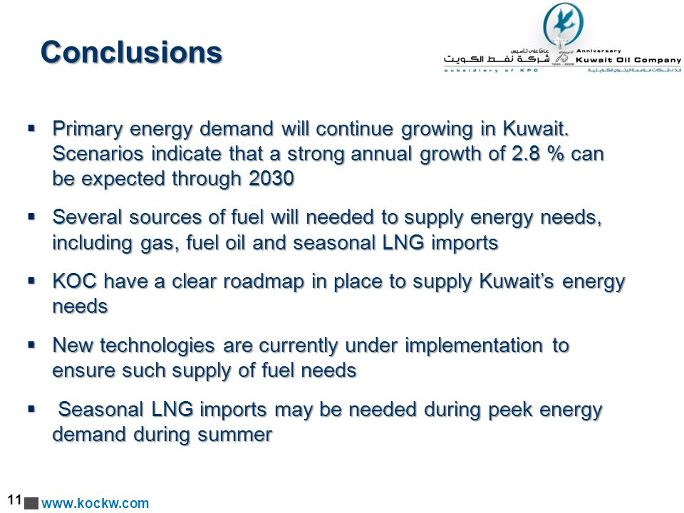 www.kockw.com Conclusions  Primary energy demand will continue growing in Kuwait.