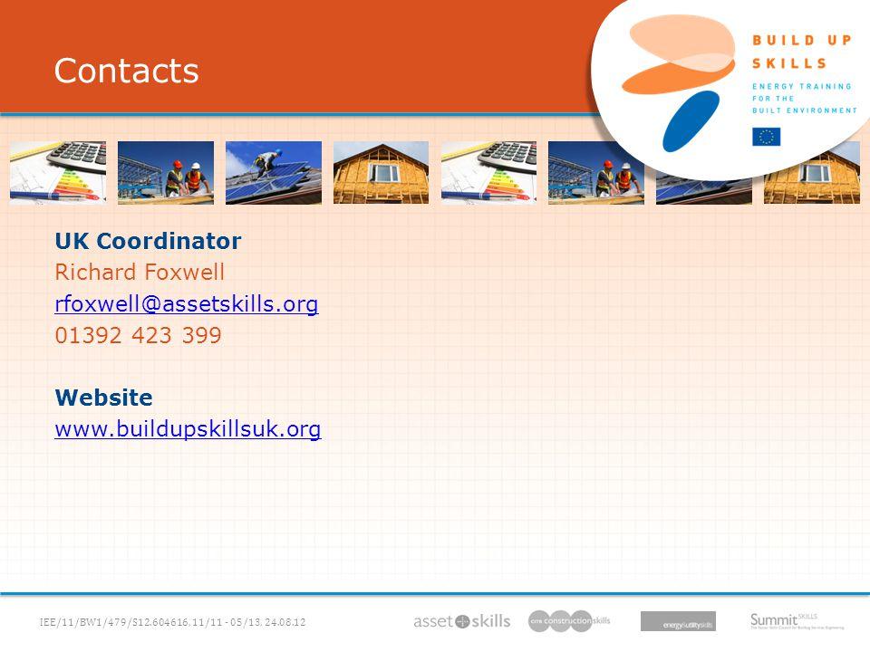 IEE/11/BW1/479/S12.604616, 11/11 - 05/13, 06.12.11 UK Coordinator Richard Foxwell rfoxwell@assetskills.org 01392 423 399 Website www.buildupskillsuk.org Contacts IEE/11/BW1/479/S12.604616, 11/11 - 05/13, 24.08.12