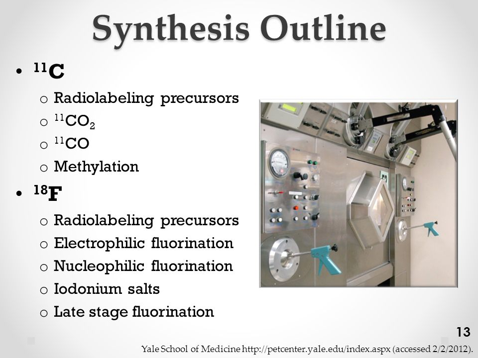Synthesis Outline 11 C o Radiolabeling precursors o 11 CO 2 o 11 CO o Methylation 18 F o Radiolabeling precursors o Electrophilic fluorination o Nucleophilic fluorination o Iodonium salts o Late stage fluorination Yale School of Medicine http://petcenter.yale.edu/index.aspx (accessed 2/2/2012).