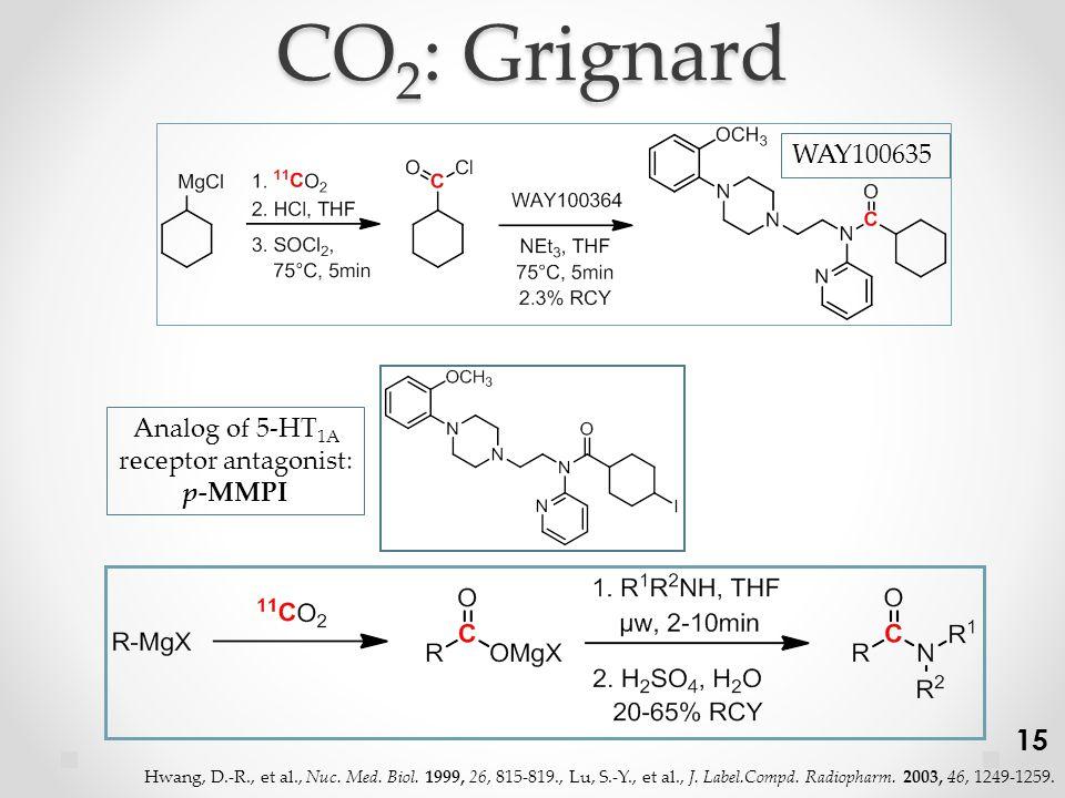CO 2 : Grignard WAY100635 Analog of 5-HT 1A receptor antagonist: p-MMPI 15 Hwang, D.-R., et al., Nuc.