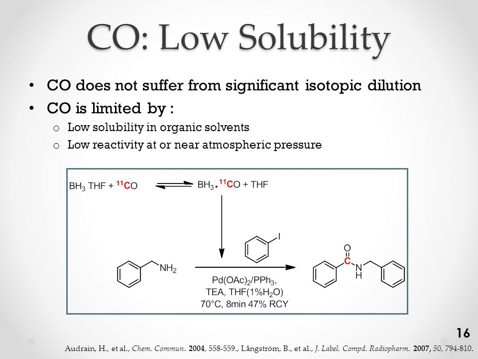 CO: Low Solubility CO does not suffer from significant isotopic dilution CO is limited by : o Low solubility in organic solvents o Low reactivity at or near atmospheric pressure 16 Audrain, H., et al., Chem.