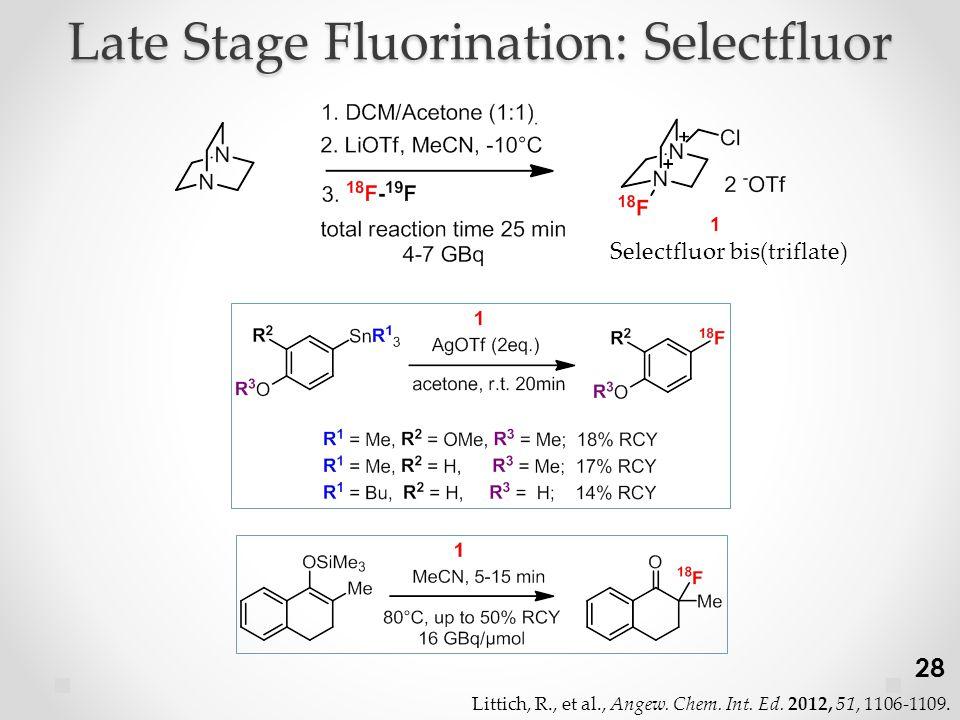 Late Stage Fluorination: Selectfluor Selectfluor bis(triflate) 28 Littich, R., et al., Angew.