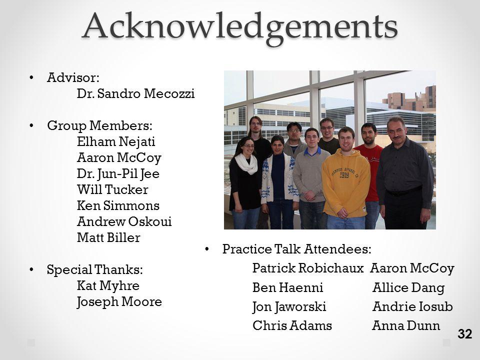 Acknowledgements Advisor: Dr. Sandro Mecozzi Group Members: Elham Nejati Aaron McCoy Dr.