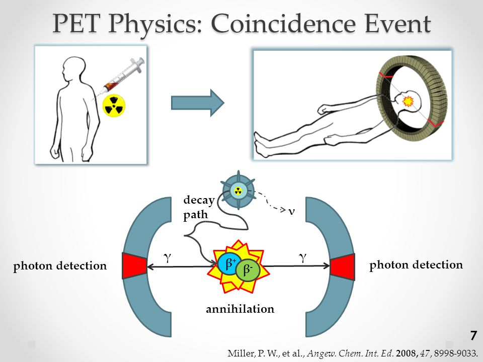 PET Physics: Coincidence Event γγ ν β-β- β+β+ annihilation photon detection decay path Miller, P.
