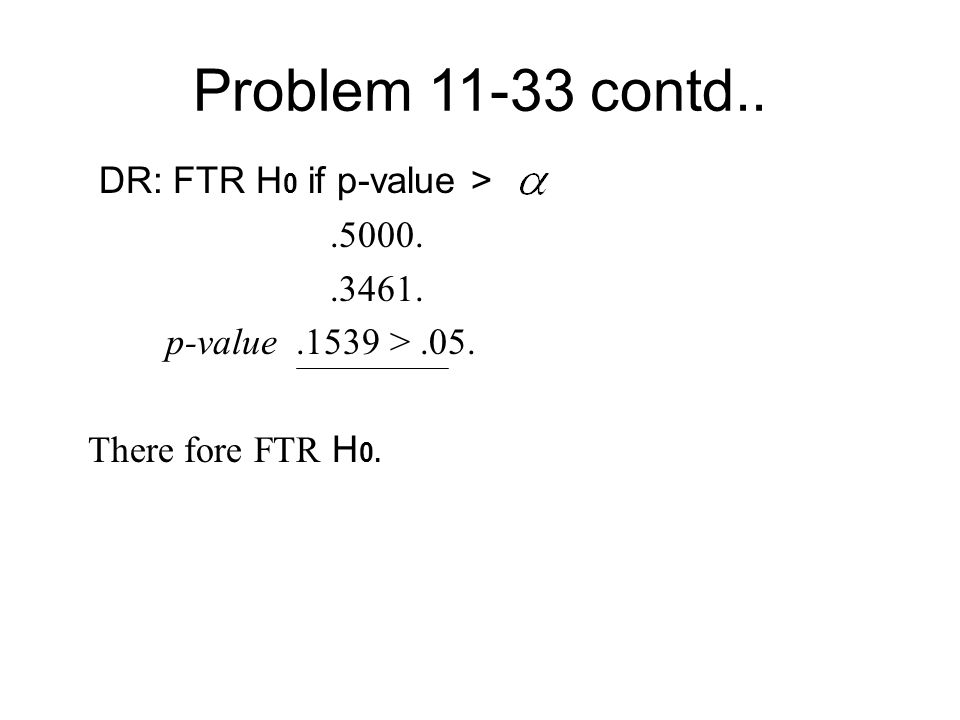 Problem 11-33 contd.. DR: FTR H 0 if p-value >.5000..3461. p-value.1539 >.05. There fore FTR H 0.