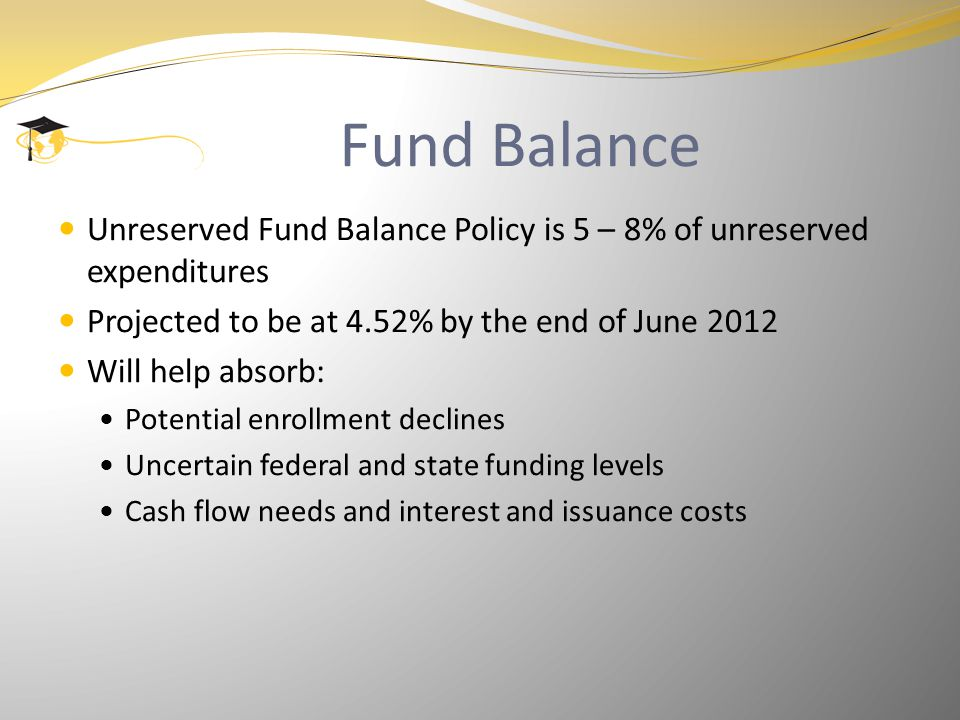 Fund Balance Unreserved Fund Balance Policy is 5 – 8% of unreserved expenditures Projected to be at 4.52% by the end of June 2012 Will help absorb: Potential enrollment declines Uncertain federal and state funding levels Cash flow needs and interest and issuance costs