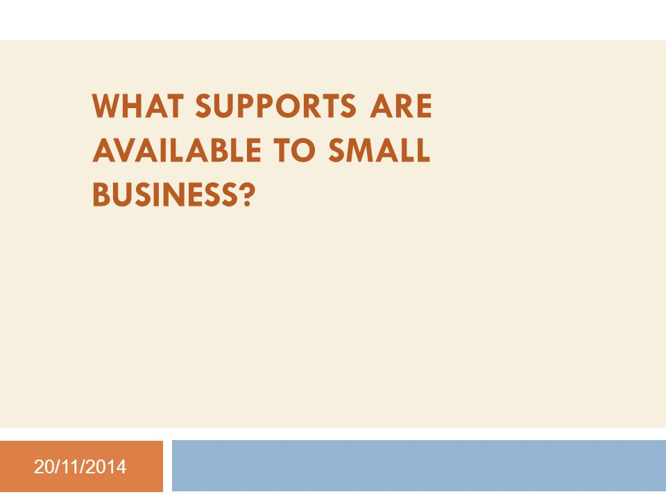 WHAT SUPPORTS ARE AVAILABLE TO SMALL BUSINESS 20/11/2014