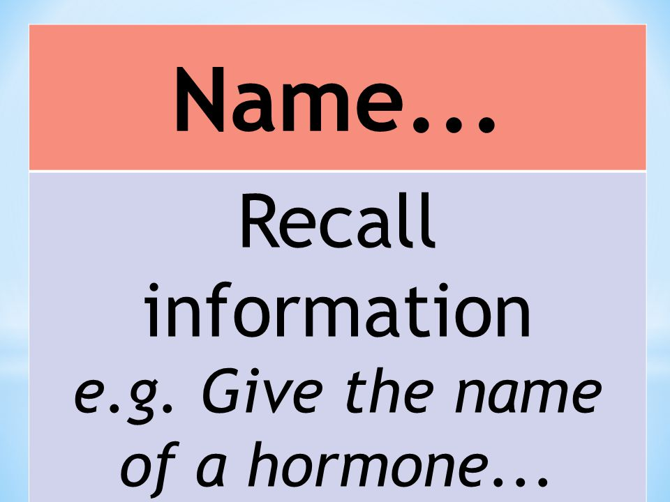 Name... Recall information e.g. Give the name of a hormone...