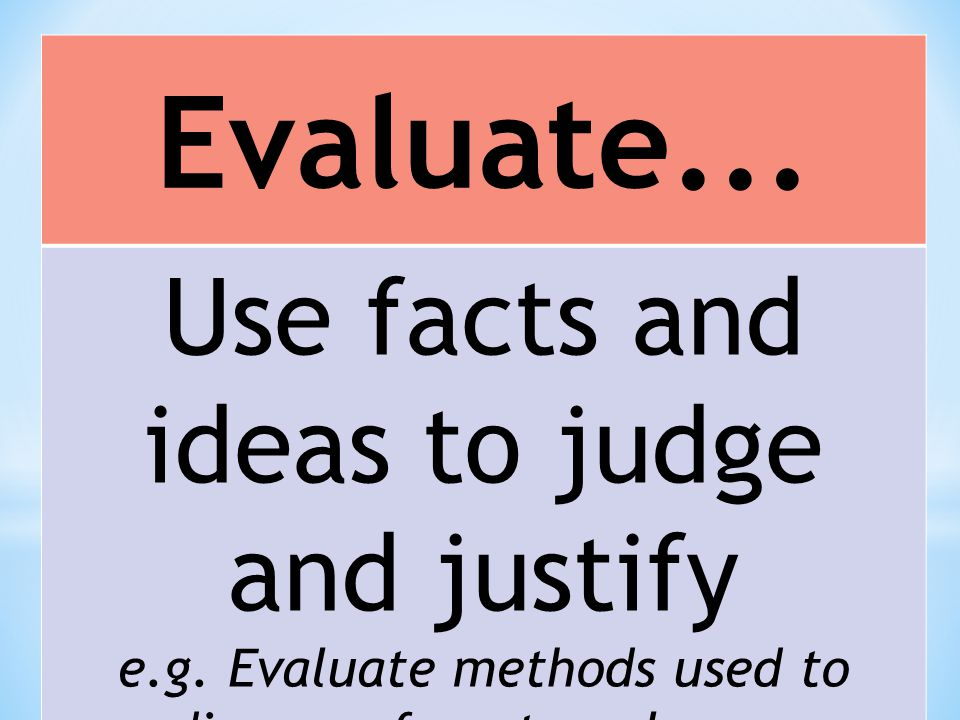 Evaluate... Use facts and ideas to judge and justify e.g. Evaluate methods used to dispose of waste polymers
