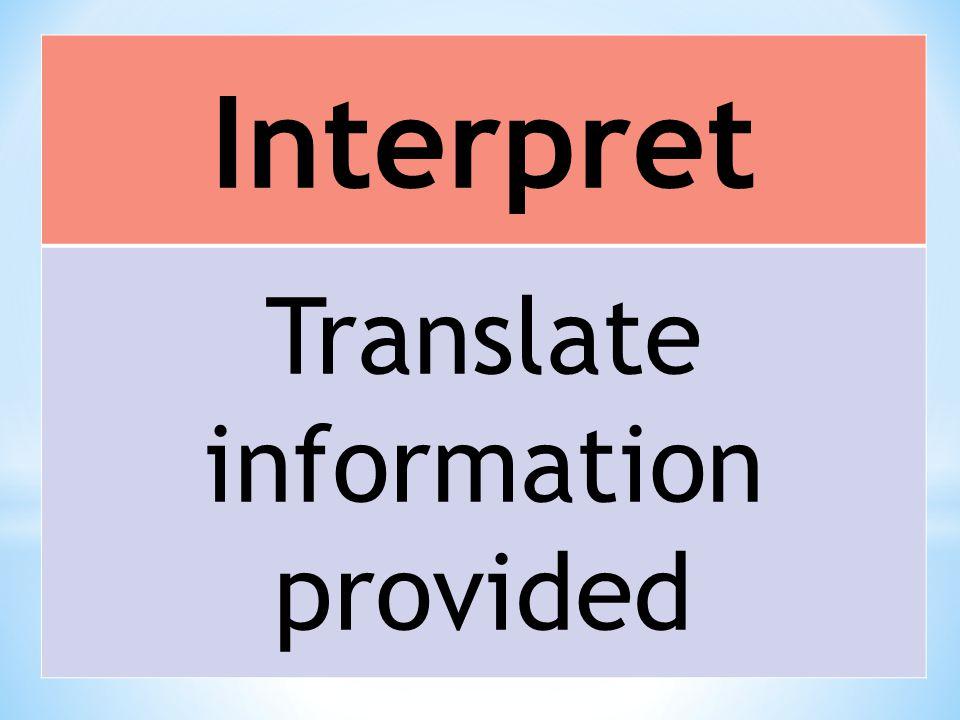 Interpret Translate information provided
