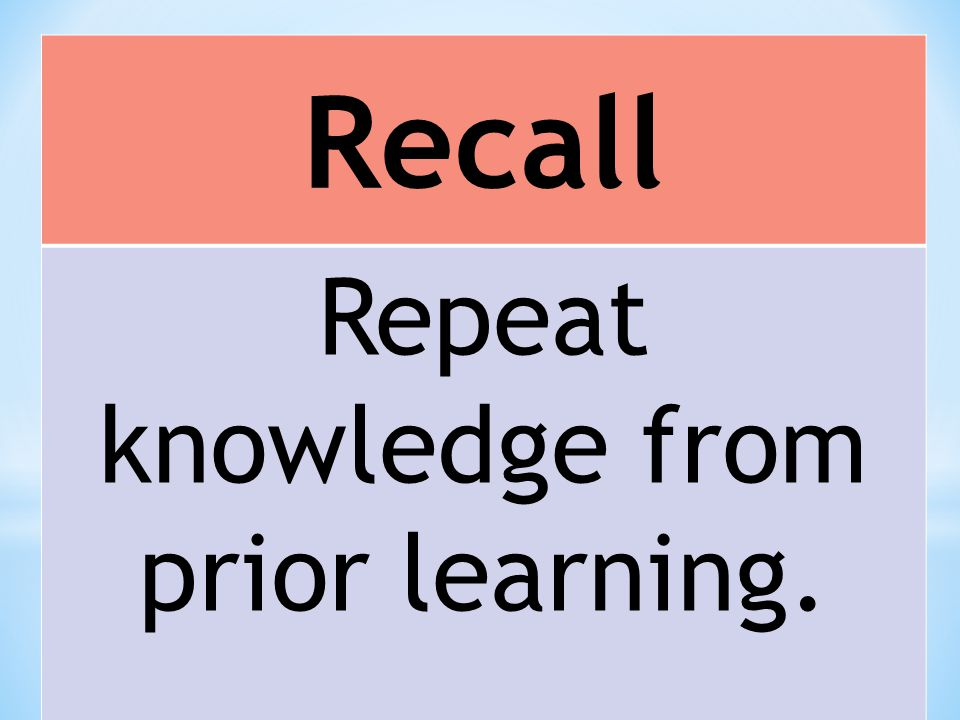 Recall Repeat knowledge from prior learning.