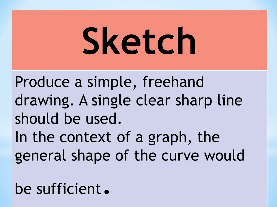 Sketch Produce a simple, freehand drawing. A single clear sharp line should be used.