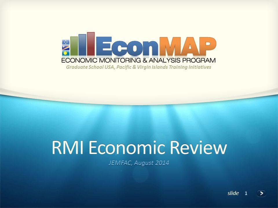 slide RMI Economic Review JEMFAC, August 2014 Graduate School USA, Pacific & Virgin Islands Training Initiatives 1