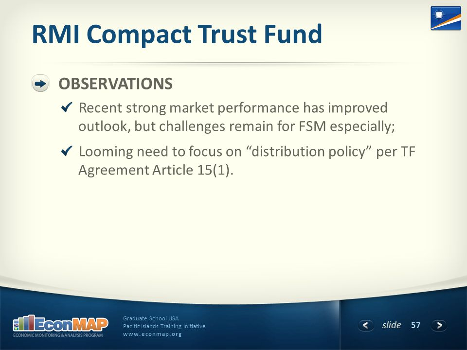 slide Graduate School USA Pacific Islands Training Initiative www.econmap.org RMI Compact Trust Fund OBSERVATIONS Recent strong market performance has improved outlook, but challenges remain for FSM especially; Looming need to focus on distribution policy per TF Agreement Article 15(1).