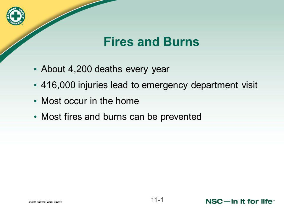 © 2011 National Safety Council Fires and Burns About 4,200 deaths every year 416,000 injuries lead to emergency department visit Most occur in the home Most fires and burns can be prevented 11-1
