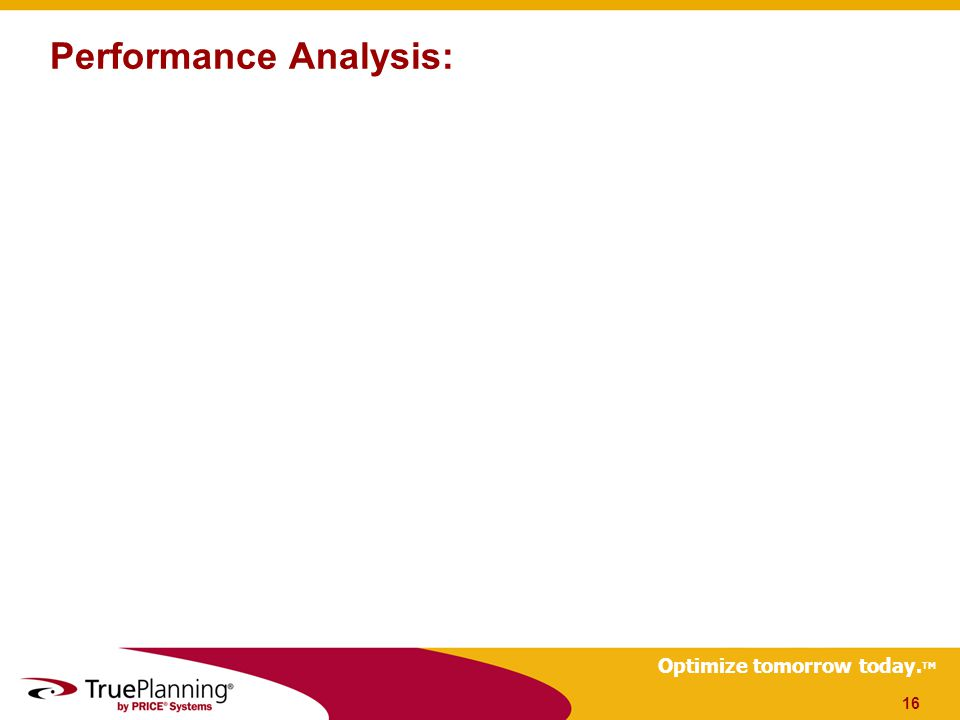 Optimize tomorrow today. TM Performance Analysis: 16