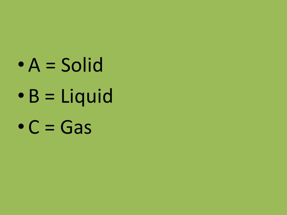 A = Solid B = Liquid C = Gas