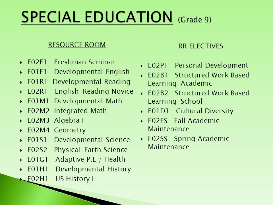 RESOURCE ROOM  E02F1 Freshman Seminar  E01E1 Developmental English  E01R1 Developmental Reading  E02R1 English-Reading Novice  E01M1 Developmental Math  E02M2 Integrated Math  E02M3 Algebra I  E02M4 Geometry  E01S1 Developmental Science  E02S2 Physical-Earth Science  E01G1 Adaptive P.E / Health  E01H1 Developmental History  E02H1 US History I RR ELECTIVES  E02P1 Personal Development  E02B1 Structured Work Based Learning-Academic  E02B2 Structured Work Based Learning-School  E01D1 Cultural Diversity  E02FS Fall Academic Maintenance  E02SS Spring Academic Maintenance