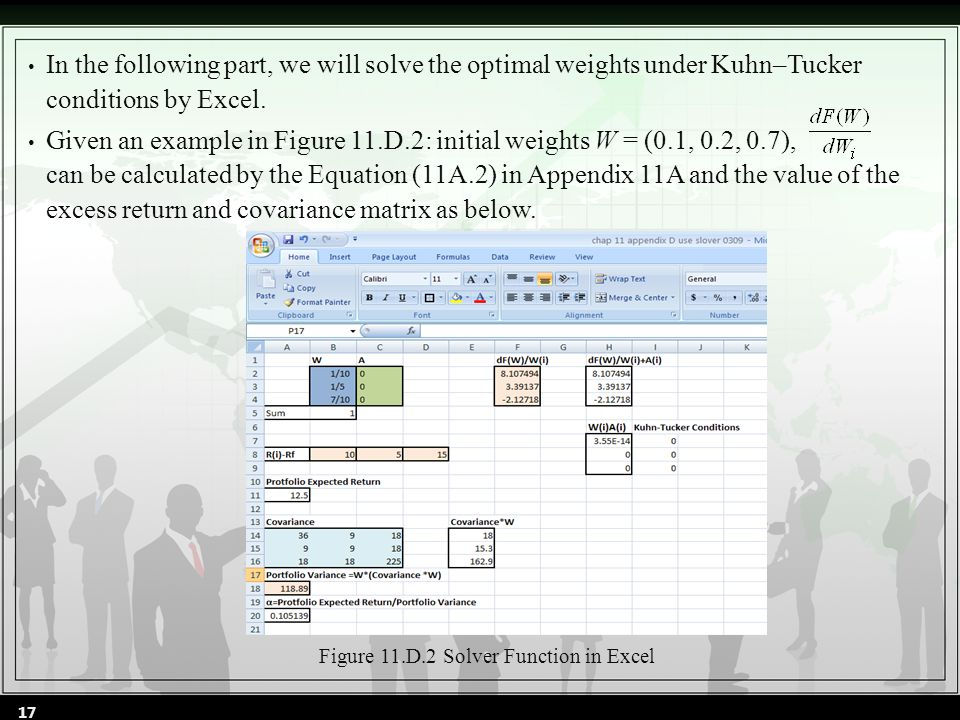 In the following part, we will solve the optimal weights under Kuhn–Tucker conditions by Excel.