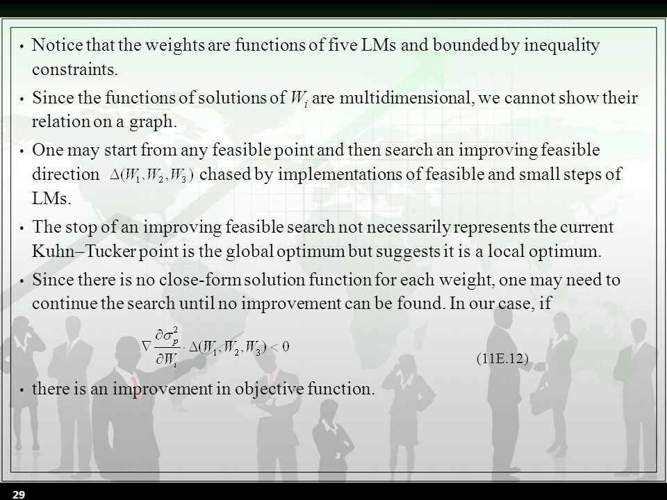Notice that the weights are functions of five LMs and bounded by inequality constraints.