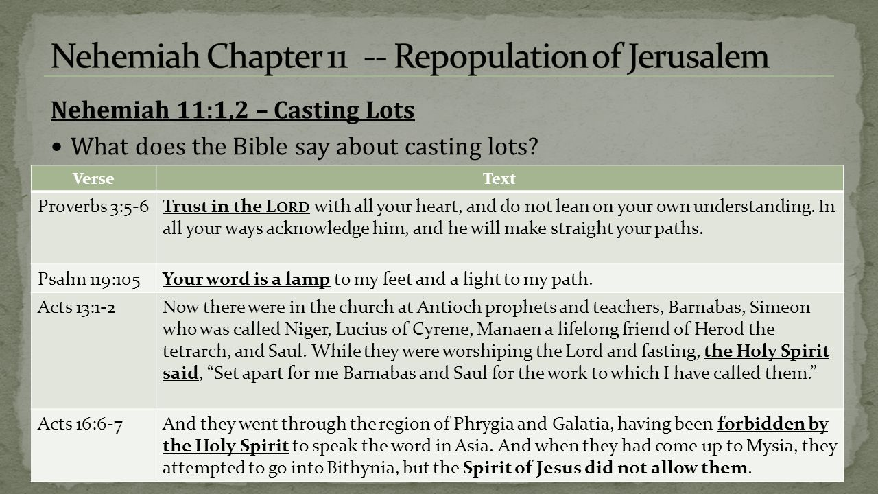 Nehemiah 11:1,2 – Casting Lots What does the Bible say about casting lots.