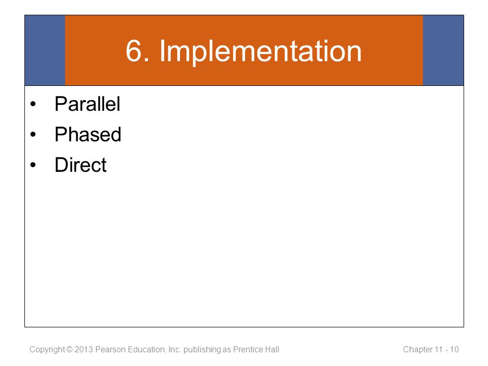 6. Implementation Parallel Phased Direct Copyright © 2013 Pearson Education, Inc.
