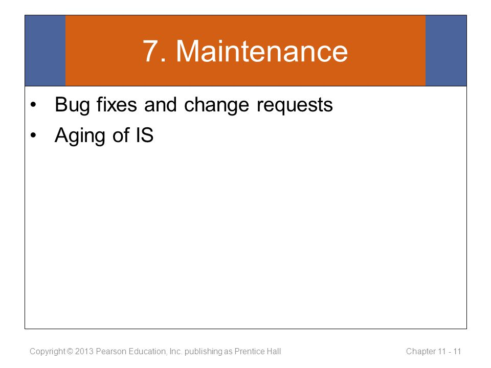 7. Maintenance Bug fixes and change requests Aging of IS Copyright © 2013 Pearson Education, Inc.
