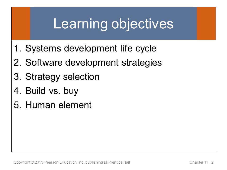 Learning objectives 1.Systems development life cycle 2.Software development strategies 3.Strategy selection 4.Build vs.