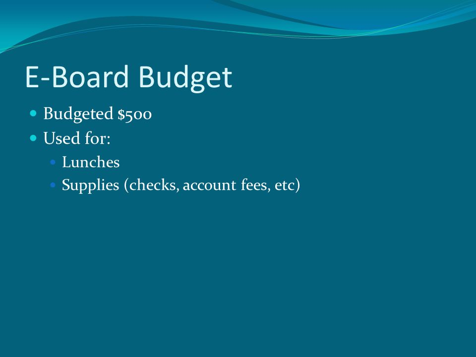 E-Board Budget Budgeted $500 Used for: Lunches Supplies (checks, account fees, etc)