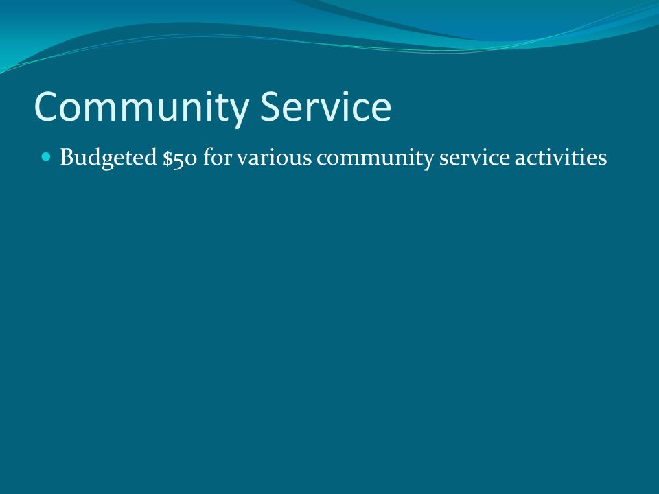 Community Service Budgeted $50 for various community service activities