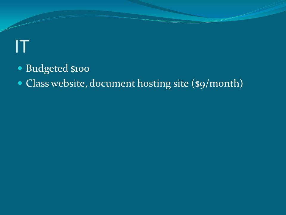 IT Budgeted $100 Class website, document hosting site ($9/month)