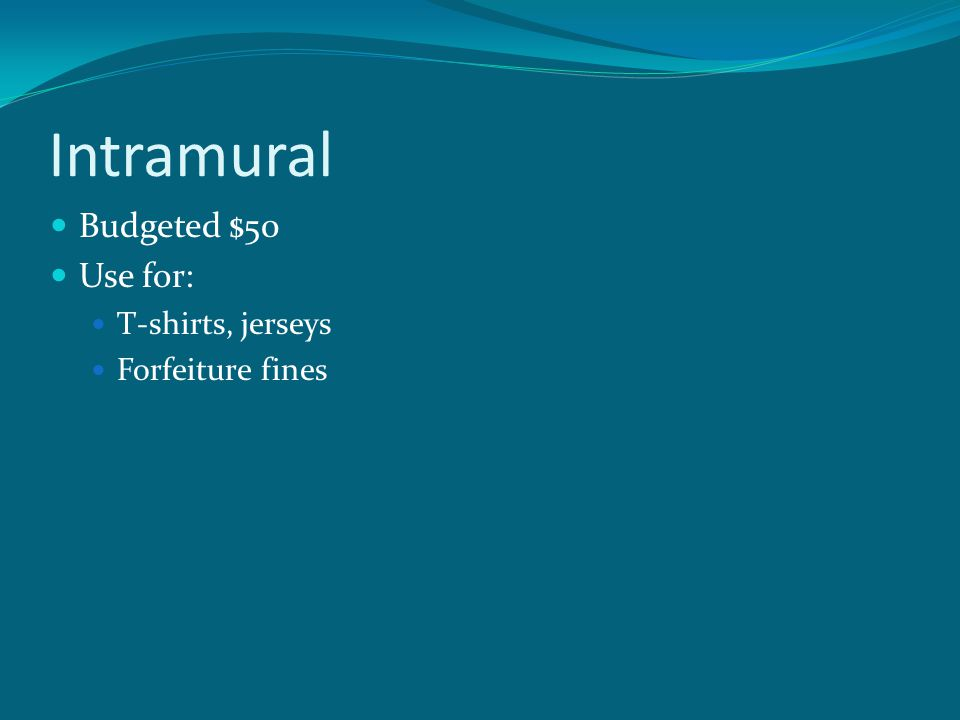 Intramural Budgeted $50 Use for: T-shirts, jerseys Forfeiture fines