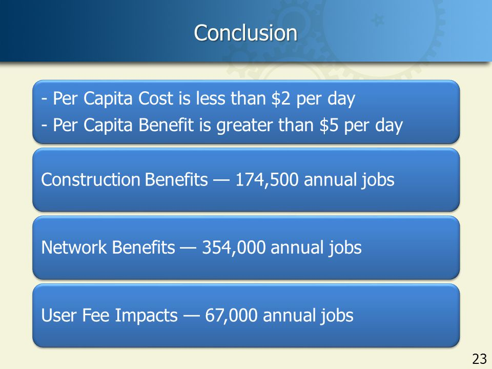 Conclusion 23 - Per Capita Cost is less than $2 per day - Per Capita Benefit is greater than $5 per day Construction Benefits — 174,500 annual jobsNetwork Benefits — 354,000 annual jobsUser Fee Impacts — 67,000 annual jobs