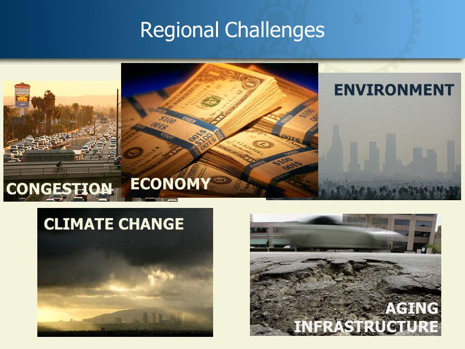 4 Regional Challenges CONGESTION AGING INFRASTRUCTURE CLIMATE CHANGE ENVIRONMENT ECONOMY