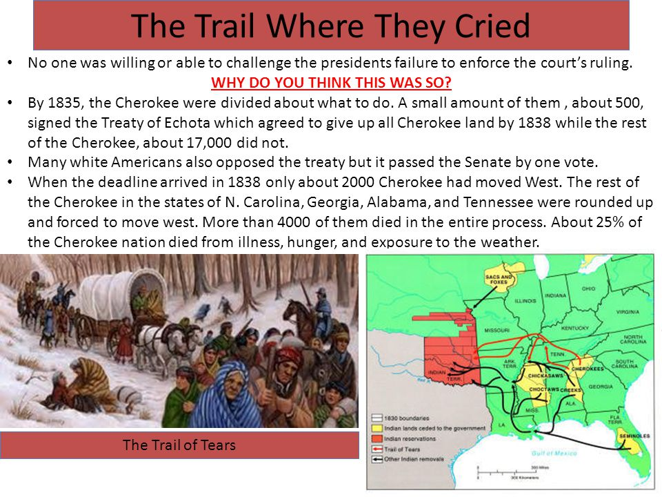 The Trail Where They Cried No one was willing or able to challenge the presidents failure to enforce the court's ruling.