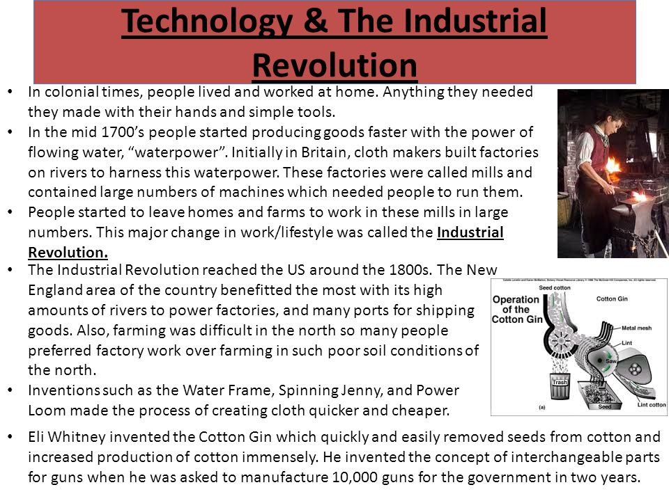 Rise of the Factories Patent Law was passed by government to protect the rights of inventors in the 1790's but this didn't stop Samuel Slater from stealing factory machine designs from British factories where he worked.