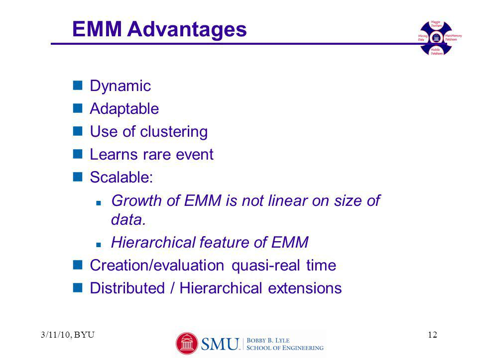 3/11/10, BYU12 EMM Advantages nDynamic nAdaptable nUse of clustering nLearns rare event nScalable: n Growth of EMM is not linear on size of data.