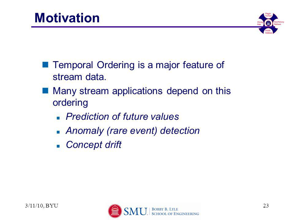 Motivation nTemporal Ordering is a major feature of stream data.
