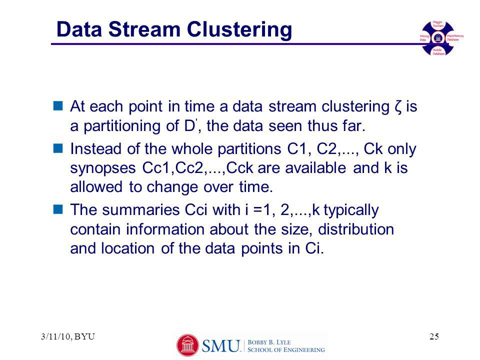 Data Stream Clustering nAt each point in time a data stream clustering ζ is a partitioning of D , the data seen thus far.