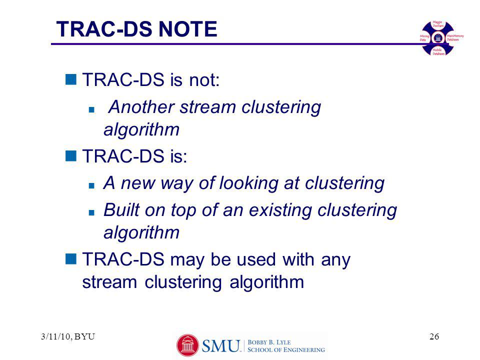 TRAC-DS NOTE nTRAC-DS is not: n Another stream clustering algorithm nTRAC-DS is: n A new way of looking at clustering n Built on top of an existing cl