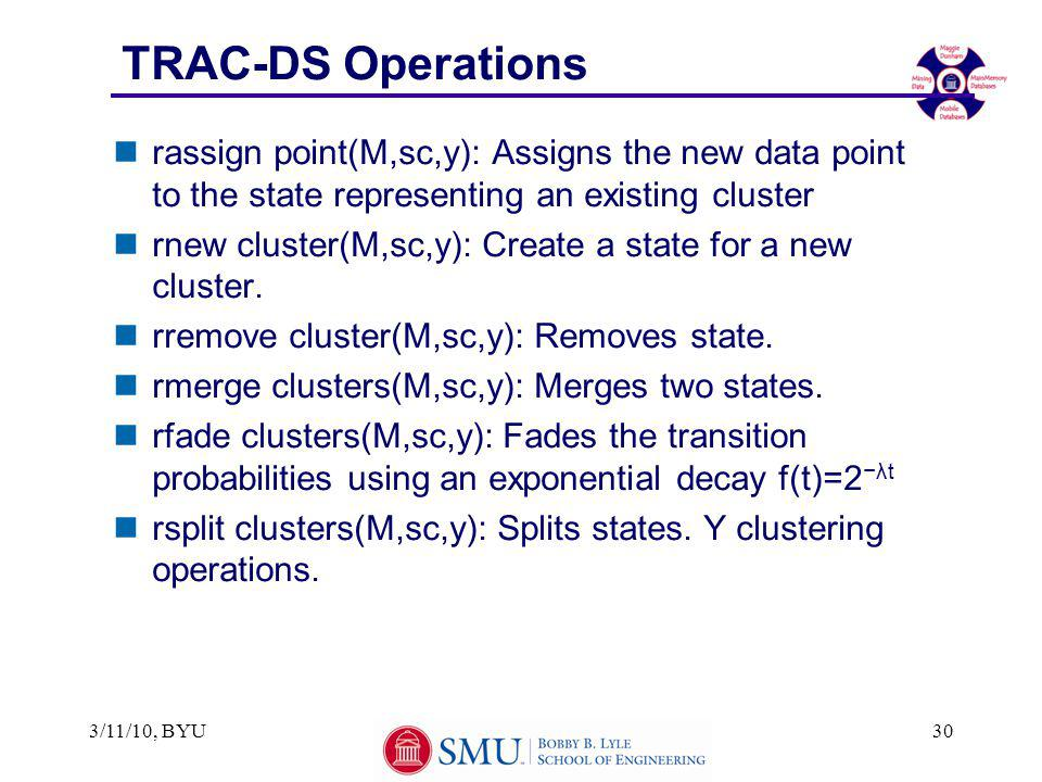 TRAC-DS Operations nrassign point(M,sc,y): Assigns the new data point to the state representing an existing cluster nrnew cluster(M,sc,y): Create a st