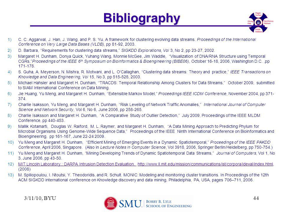 3/11/10, BYU44Bibliography 1)C. C. Aggarwal, J. Han, J. Wang, and P. S. Yu. A framework for clustering evolving data streams. Proceedings of the Inter