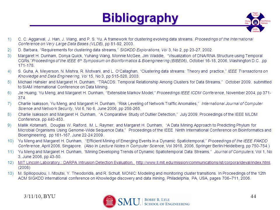 3/11/10, BYU44Bibliography 1)C. C. Aggarwal, J. Han, J.